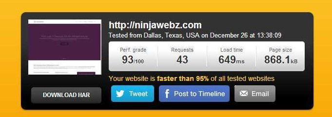 NinjaWebz home page loading speed test results - 93of100 in 649ms